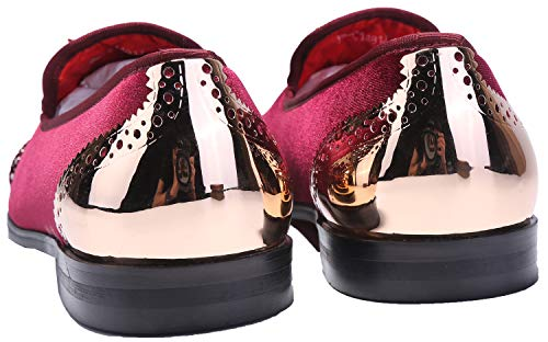 Metal 9 Men Colors Wine Men's Shoes Loafers Eagle Smoking Dress ELANROMAN Loafers Buckle Velvet PCxtq