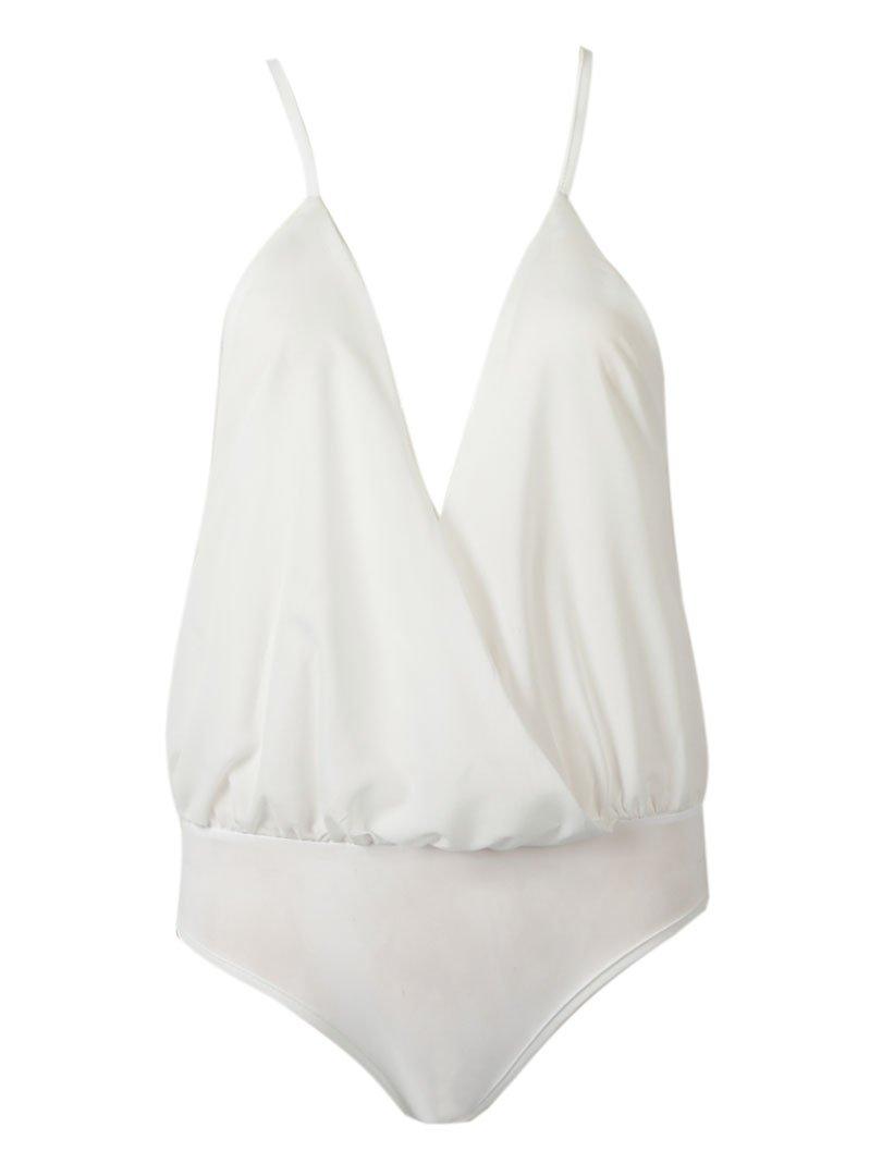 Choies Women's Wrap Spaghetti Strap Cross Back Solid Bodysuit 41XheckAIiL