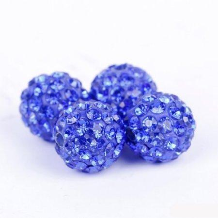 DUMAN 5pcs 10mm Shamballa Inspired Crystal Ball Beads for Jewelry Making, Royal Blue (2013 Swarovski Ball)