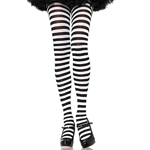 Leg Avenue Women's Plus Size Nylon Striped Tights, Black/White, 3X-4X
