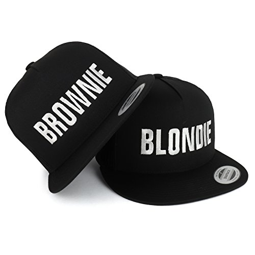 Trendy Apparel Shop Blondie and Brownie Embroidered 5 Panel Flat Bill Trucker Mesh Cap - 2pc Set - Black by Trendy Apparel Shop