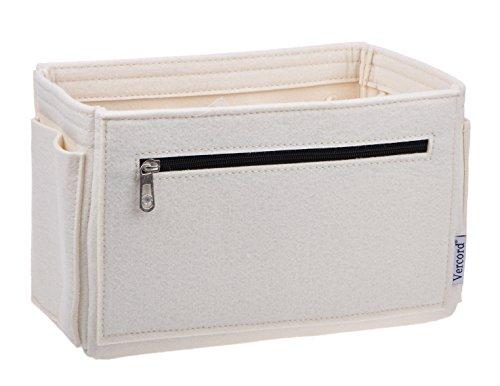 Vercord Felt Purse Handbag Pocketbook Tote Insert Organizer Bag Shaper in Bag Multi-Pockets White Medium Zipper ()