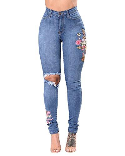 Mujer Vaqueros Push Up Rotos Ocio Estilo Stretch Skinny Jeans De Bordado Zarco