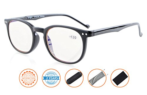 Reduce Eyestrain,Anti Blue Rays,UV Protection,Unisex Computer Reading Glasses(Black,Amber Tinted Lenses) - To Glare Glasses Screen Reduce Computer