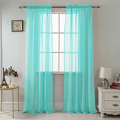 RT Designers Collection Celine Sheer 55 x 90 in. Rod Pocket Curtain Panel, Aqua ()