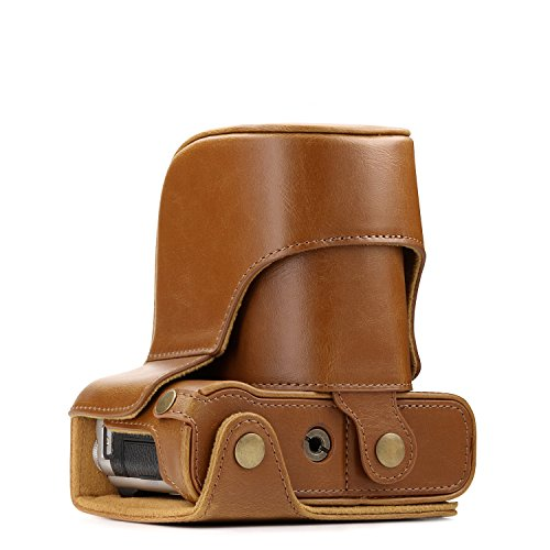 MegaGear Fujifilm X-A5, X-A3, X-A2, X-A1, X-M1 Ever Ready Leather Camera Case and Strap, with Battery Access - Light Brown - MG174