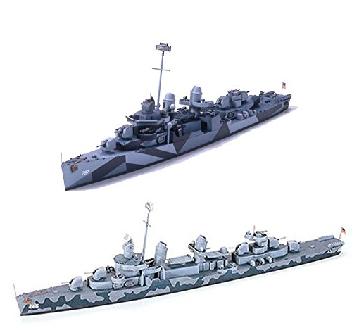 2 Tamiya Ship Models - US and German Navy Destroyers - USN DD445 Fletcher and German Z Class Destroyer Z37-39 (Japan Import)