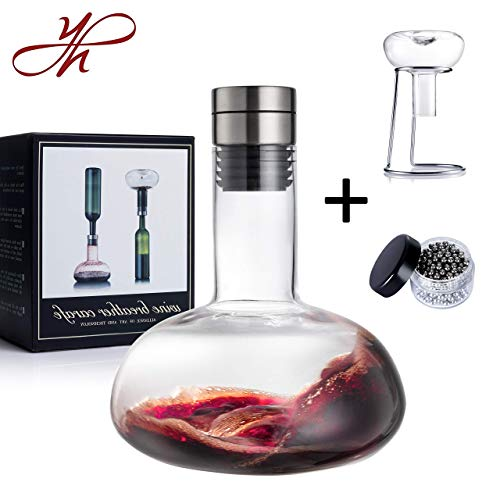YouYah Wine Decanter Set,Wine Breather Carafe with Drying Stand,Steel Cleaning Beads and Aerator Lid,Crystal Glass,Wine Aerator,Wine Accessories,Wine Gift (New Packing) (Renewed)