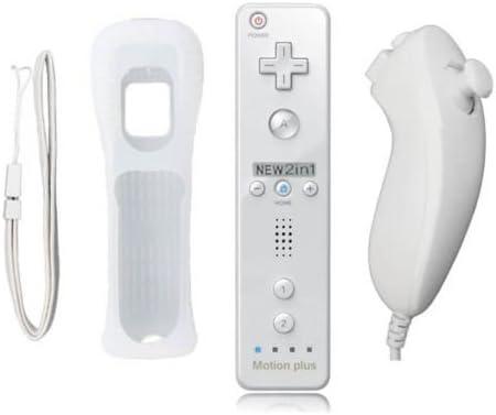 YiYunTE 2 en 1 Mando Plus con Motion Plus y Nunchunk Nintendo Wii + Funda de Silicona - Blanco