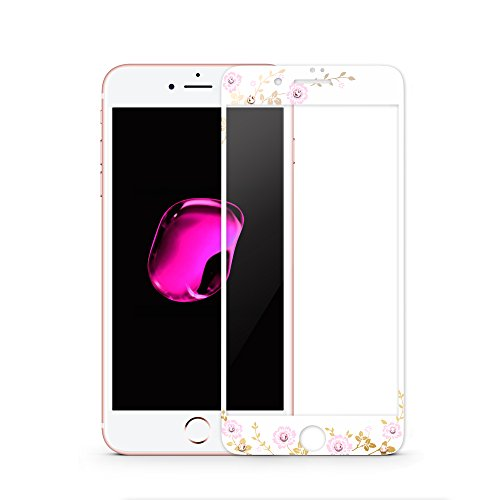 Reinforced Diamond Protector - Kingxbar iPhone 7 Tempered Glass Screen Protector Diamond Crystals from SWAROVSKI Element High Definition Scratch Proof Screen Protector for iPhone 7(4.7 Inch)