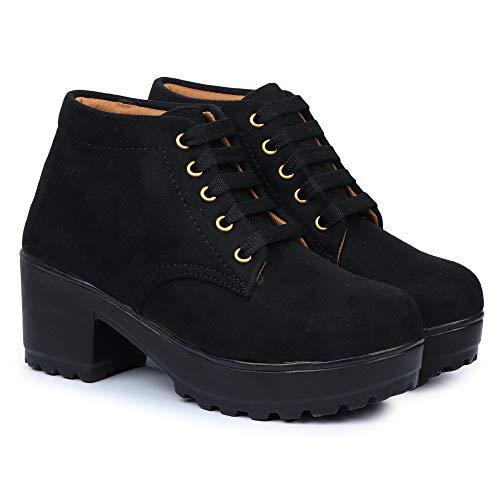 HimQuen Boot Casual Outdoor High Heel Ankle for Women & Girls