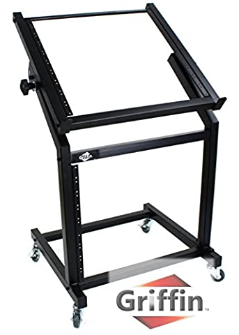 Rack Mount Rolling Stand and Adjustable Top Mixer Platform Mount 19U by Griffin|Cart Holder for Music Studio Pro Audio Recording Cabinet|Stage Equipment DJ PA Gear Display Case for Amplifiers, (Music Stand Top)