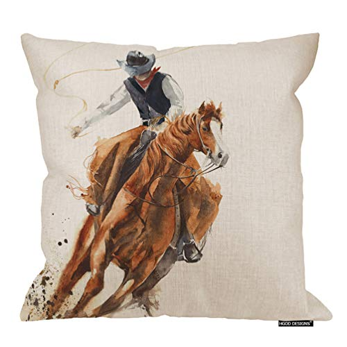 HGOD DESIGNS Cowboy Pillow Case,Watercolor Cowboy Riding A Horse Ride Calf Roping Painting Cotton Linen Polyester Decorative Home Decor Sofa Couch Desk Chair Bedroom 16x16inch