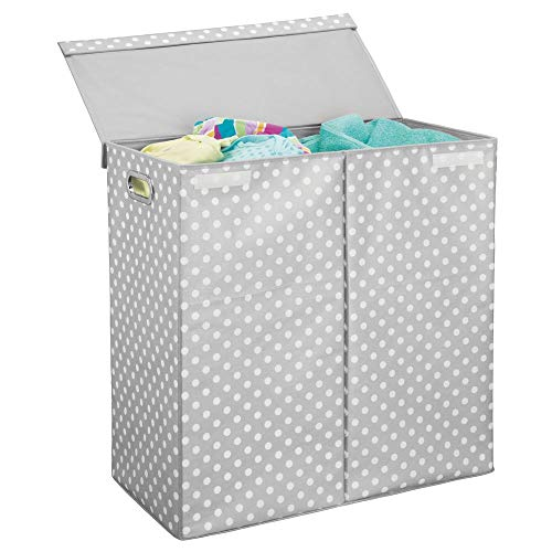 mDesign Extra Large Divided Laundry Hamper Basket with Lid - Portable, Foldable for Compact Storage - Double Hamper Design for Nursery, Girl's Room, Kid's Playroom - Fun Polka Dot Print - Gray/White (Hamper Dot Polka)