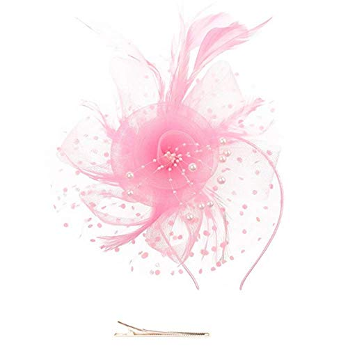 Fascinators Hat Flower Mesh Ribbons Feathers on a Headband and a Clip Tea Party Headwear for Girls and Women (Pink) ()