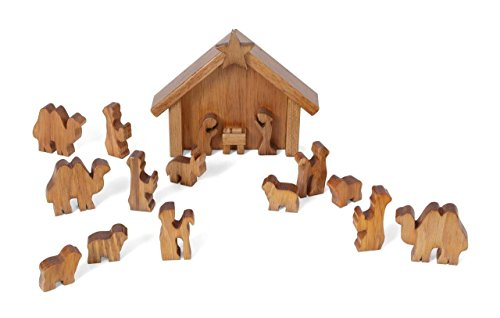 (Amish-Made Wooden Nativity Manger Scene Set, 13 Pieces)