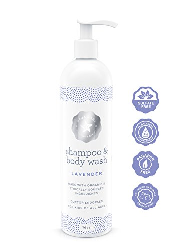 Baja Baby Night Night Lavender Shampoo and Body Wash - 16 fl oz - FREE of Sulphates, Parabens and Phosphates - Soothing Lavender Scent - Organic, Natural Ingredients - Relaxes and Comforts! NEW AND IMPROVED FORMULA