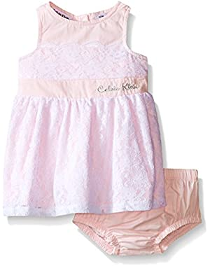 Baby Girls' Pink Lace Overlay Dress and Panty