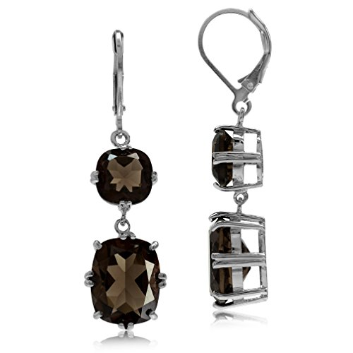 Cut Smoky Quartz Drop Earrings (13.4ct. Natural Smoky Quartz White Gold Plated 925 Sterling Silver Leverback Dangle Earrings)