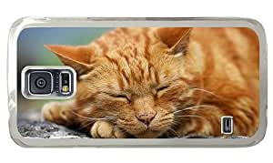 Hipster pretty Samsung Galaxy S5 Case sleeping kitty hd PC Transparent for Samsung S5