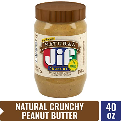 Jif Natural Crunchy Peanut Butter, 40 oz. (Pack of 8) - 7g (7% DV) of Protein per Serving, Packed with Peanuts for Extra Crunch - No Stir Natural Peanut Butter (Jif To Go Natural Peanut Butter Nutrition)