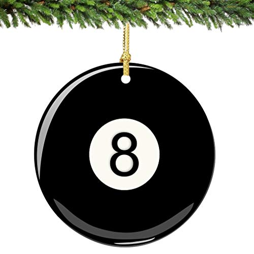 City-Souvenirs Eight Ball Christmas Ornament Porcelain Double Sided