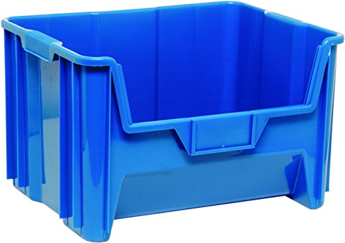 Quantum Storage Systems QGH700BL Multi-Purpose Giant Stacking Open Hopper Container, 15-1/4 x 19-7/8 x 12-7/16, Blue (Pack of (Giant Stack Container Shelf Storage)