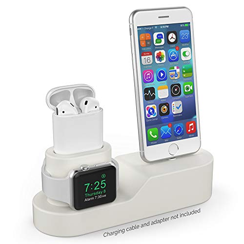 AhaStyle 3 in 1 Charging Stand Silicone Compatible with Apple Watch, AirPods and iPhone Xs/Xs Max/Xr/ 8/8 Plus【iPhone Original Cables Required-NOT Included】(Beige) from AHASTYLE