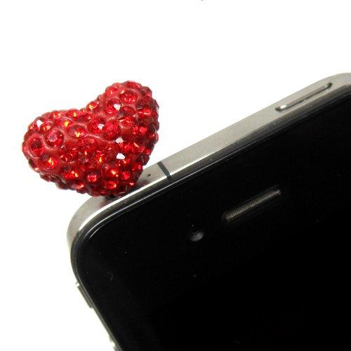 Gioielli per il tuo cellulare Nella forma di un cuore con strass in color rossi.