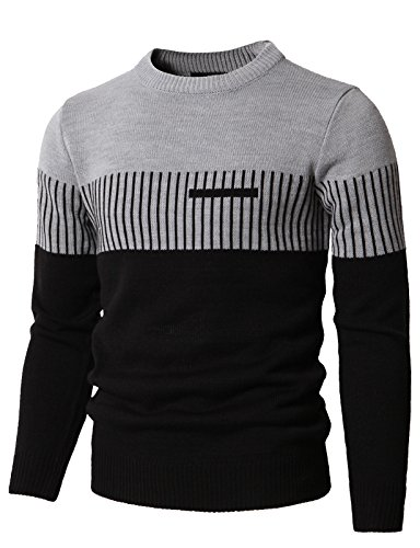 - H2H Men's Casual Solid Slim Fit Light Weight Stylish Knit Pullover Sweater Black US L/Asia XL (KMOSWL0240)