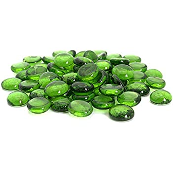 Royal Imports Green Flat Marbles, Pebbles, Glass Gems for Vase Fillers, Party Table Scatter, Wedding, Decoration, Aquarium Decor, Crystal Rocks, or Crafts, 5 LBS (Approx 400 pcs)