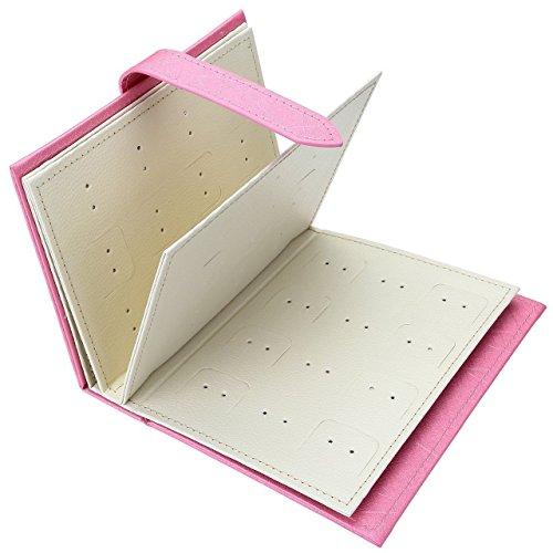 Yiluana Jewelry Organizer, Portable Earring Holder Pu Leather Travel Jewelry Organizer Case with Foldable Book Design (Pink)