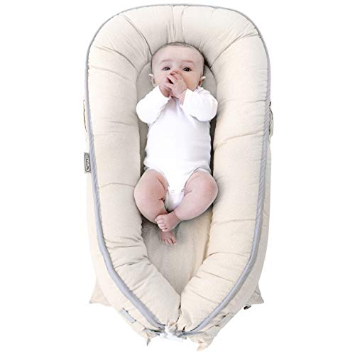 Moon/& Pink Waves Baby Nest Sharing Co Sleeping Baby Bassinet Breathable /& Hypoallergenic Portable Crib Newborn Baby Nest Machine Washable Baby Show Pink Toddler Baby Lounger