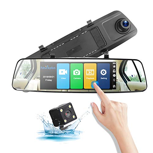 Poaeaon Backup Camera H16 7 Mirror Dash Cam Touch Screen 1080P Front and Rear Dual Channel with Rear View Reversing Camera