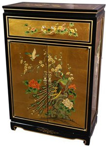 Oriental Furniture 36'' Gold Leaf Shoe Cabinet - Birds and Flowers by ORIENTAL FURNITURE