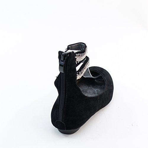 Nouveau Brieten Femmes Strass Cheville Sangle Retour À Glissière Bout Rond Confort Chaussures Plates Noir