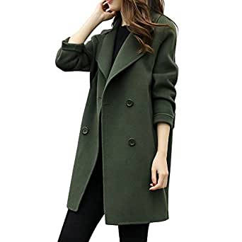 Ausexy Womens Autumn Winter Jacket Casual Outwear Parka Cardigan Slim Blazer Double Breasted Pocket Overcoat Outwear Coat Overcoat (S, Army Green)