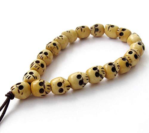 - OVALBUY Ox Bone Buddhist Carved Skull Beads Mala Bracelet for Meditation