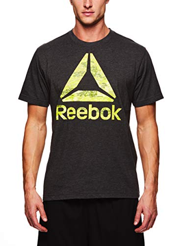 (Reebok Men's Graphic Workout Tee - Short Sleeve Gym & Training Activewear T Shirt - Recon Camo Charcoal Heather, Large)