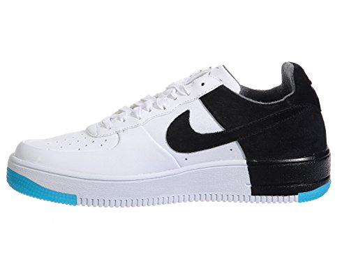 Nike Mens Af1 Scarpe Da Basket In Tessuto Ultraforce Low Bianco / Nero / Turchese Scuro / Bianco