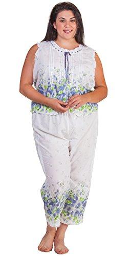 Plus Cotton La Cera Sleeveless Capri Pajamas in Meadow Mist (1X (18W-20W), White/Blue Green Floral) (Sleeveless Capri Pajamas)