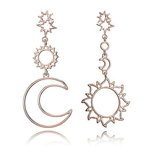 Sun Drop Girl Halloween (MINGHUA Women Fashion Boho Asymmetrical Hollow Star Sun Moon Drop Dangle Earring)