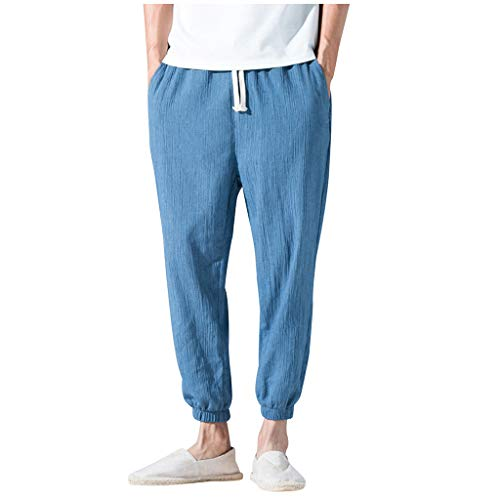 - ✦◆HebeTop✦◆ Mens Cotton Loose Joggers Casual Lounge Pajama Gym Workout Yoga Pants Blue