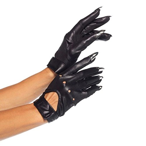 Mememall Fashion Adult Bad Girl Black Motorcycle Claw Gloves Halloween Accessory Fancy Dress