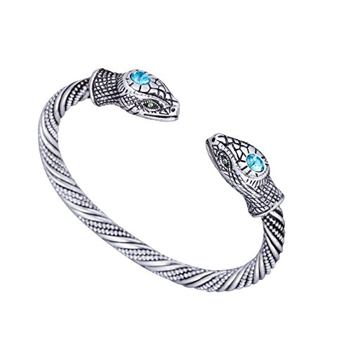 Jormungandr Vintage Snake Screw Indian Cuff Bangle Bracelet for Men and Women (Antique Silver) (Vintage Silver Bangle)