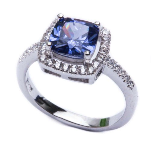 .925 Sterling Silver 2ct Cushion Cut Simulated Tanzanite & Cz Fashion Ring Sizes 4-10 15913