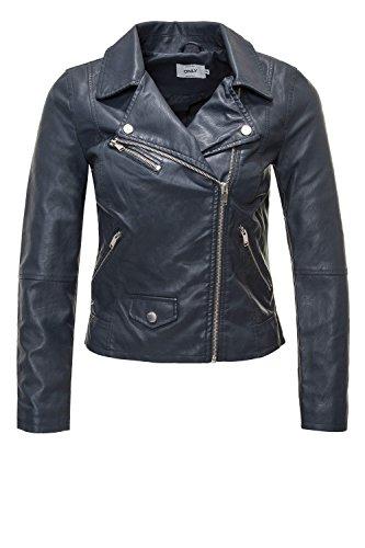 Faux Dark 15144751 Donna Leather Summer Blue Crop Biker Giacchetto Only 8Swftxqf