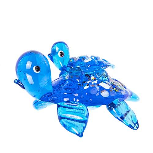 crystalsuncatcher Handmade Glass Tortoise with Baby Art Glass Blown Animal Figurine,Collectible Statue
