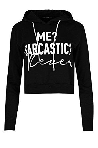 Oops Outlet Women's ME SARCASTIC Slogan Hoody Print Sweatshirt Pullover Crop Top XS/S (US (2/4) Black - Jealous Girls T-shirt