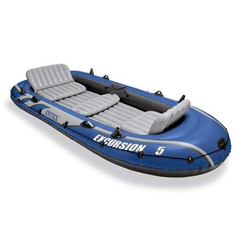 Fishing Float River - Intex Excursion 5 Person Inflatable  Boat Set